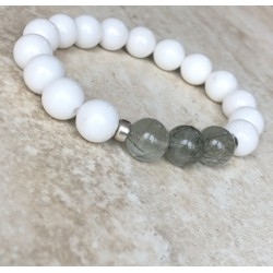 White Jade, Green Rutile and Silver 925